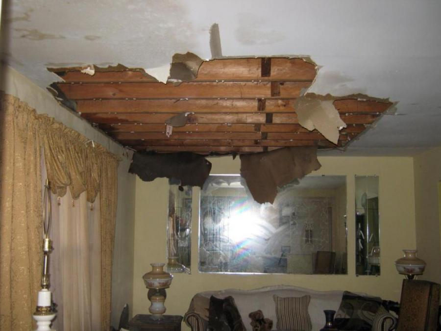 One of the causes of water damage - a toilet overflow upstairs causes water damage to this Philadelphia home