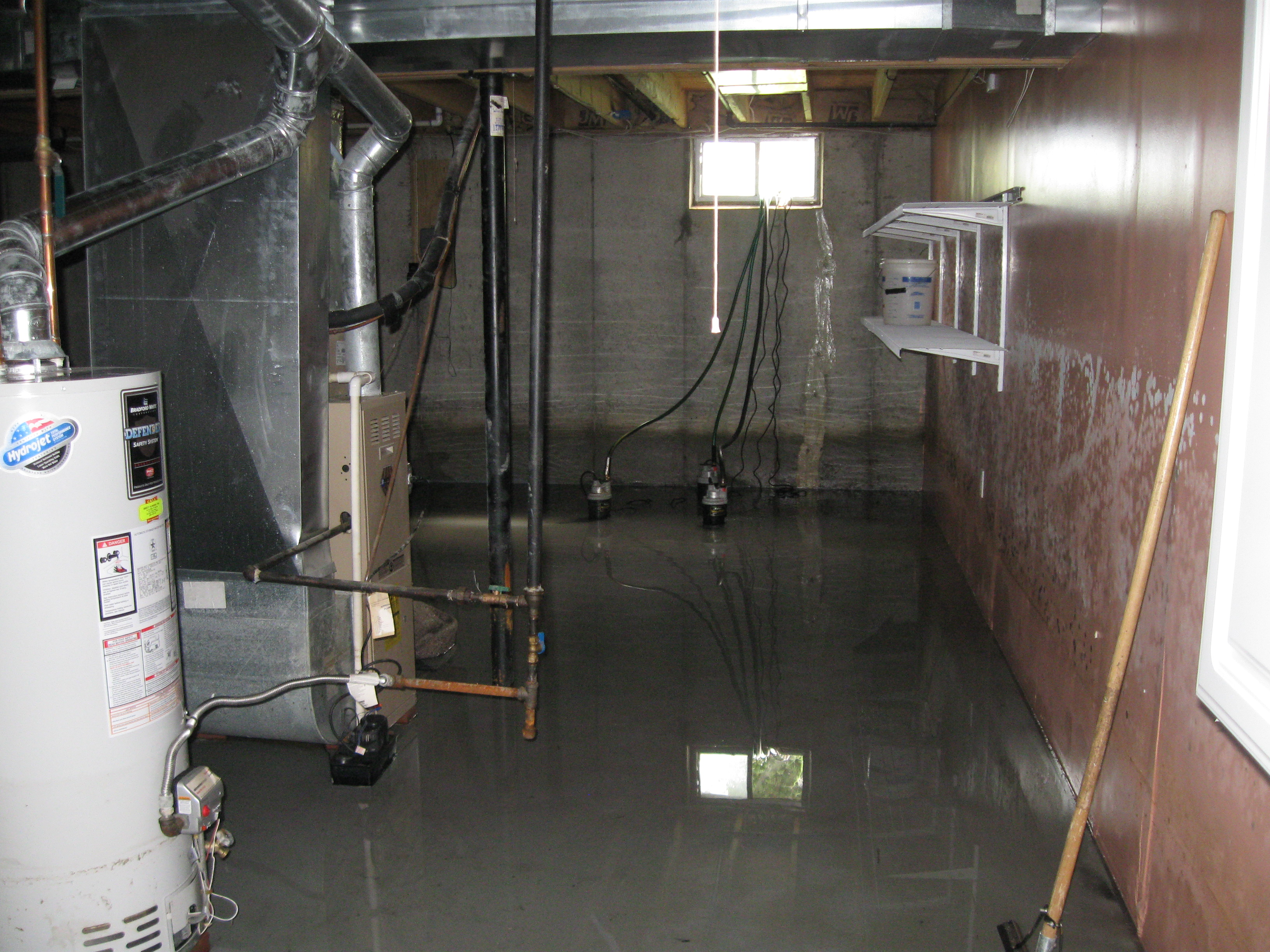 flooded basement from a sump pump failure in clayton nj