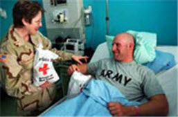 support the American Red Cross as they assist US military service people