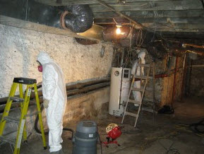 cleaning mold damage in this Philadelphia, PA basement