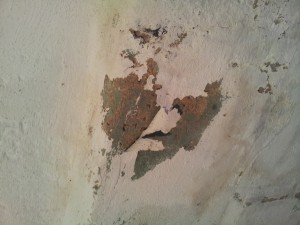 Peeling paint caused by efflouressence