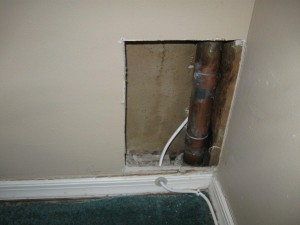 cable company technician drills through plumbing in Cherry Hill, NJ