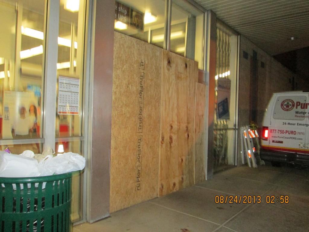 Boardup for storefront, Center City Philadelphia