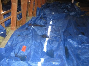 water damage during a roof repair