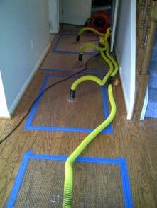 drying hardwood floors after water damage