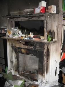 Fireplace fire in a Philadelphia home