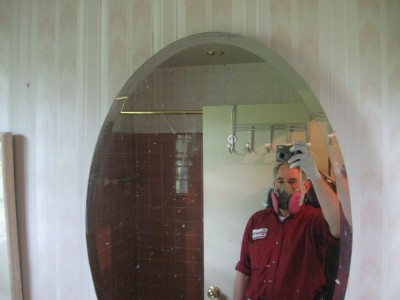 respirator required for mold damage inspection after burst pipe water damage