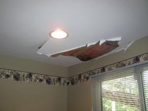 water damage to ceiling from snow melt