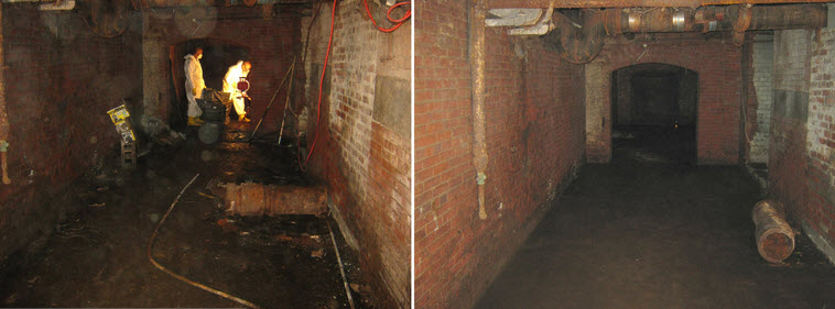 Commercial projects: sewage cleanup, Center City Philadelphai