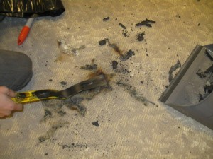 burned carpet and debris