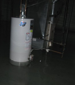 hot water heater and furnace under water