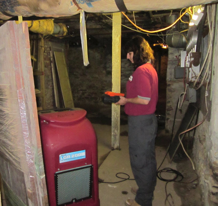 After black water damage cleanup: dehumidifying