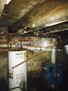 mold growth in basement after burst water heater