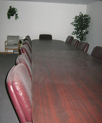 Smoke and Soot damage this conference room