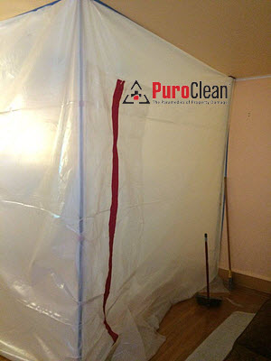 Basement mold removal in Burlington, NJ - we build containment to prevent contamination throughout the house