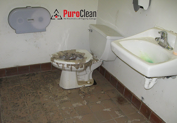 sewage backups in a commercial building