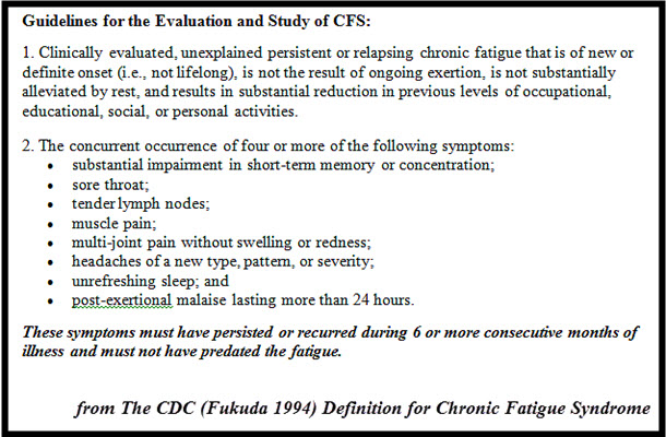 1994 guidelines for evaluating CFS
