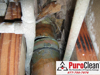 Levittown water damage source from burst heating supply pipes