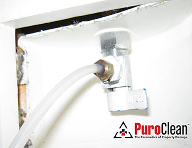 water damage from burst ice maker supply line
