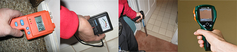 water damage dried professionally with meters that measure the moisture