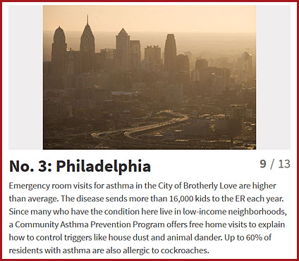 Philadelphia ranks number 3 in the country for asthma